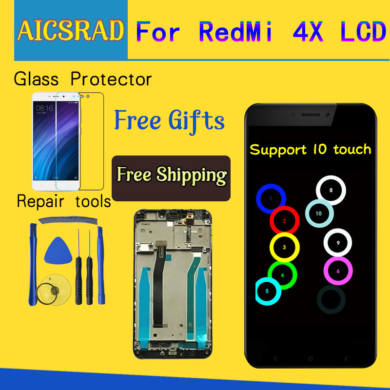 For Xiaomi Redmi 4X LCD Display Touch Screen Digitizer Assembly Replacement With Frame For Xiaomi Redmi 4X Pro Prime 5.0 inches