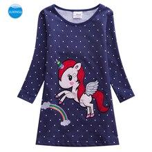 JUXINSU Toddler Unicorn Cartoon Embroidery Girls Cotton Long Sleeve Dresses Rainbow girl Casual Wavelet Point Dress 1-6 Years
