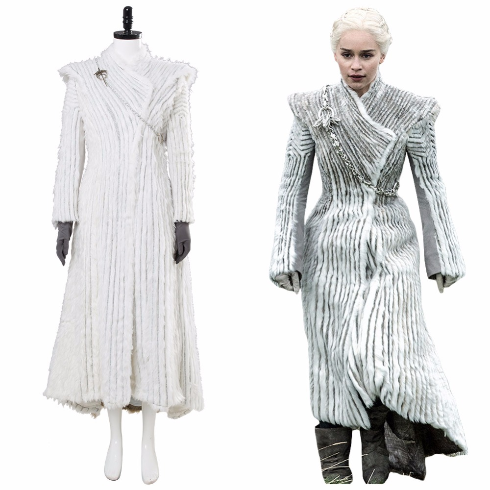 Game of Thrones Daenerys Targaryen Costume Season 7 E6 Dragonstone Winter Outfit GOT Halloween Dany Cosplay Snow Dress