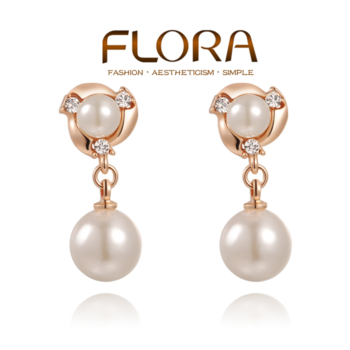 Fashion Rose Gold Double Pearl Earrings For Women Austrian Crystal Earring Brincos Grandes Penntes In Stud From Jewelry Accessories