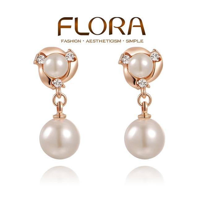 8177da3d457f0e Fashion rose gold double pearl earrings for women Austrian crystal big  pearl earring brincos grandes pendientes