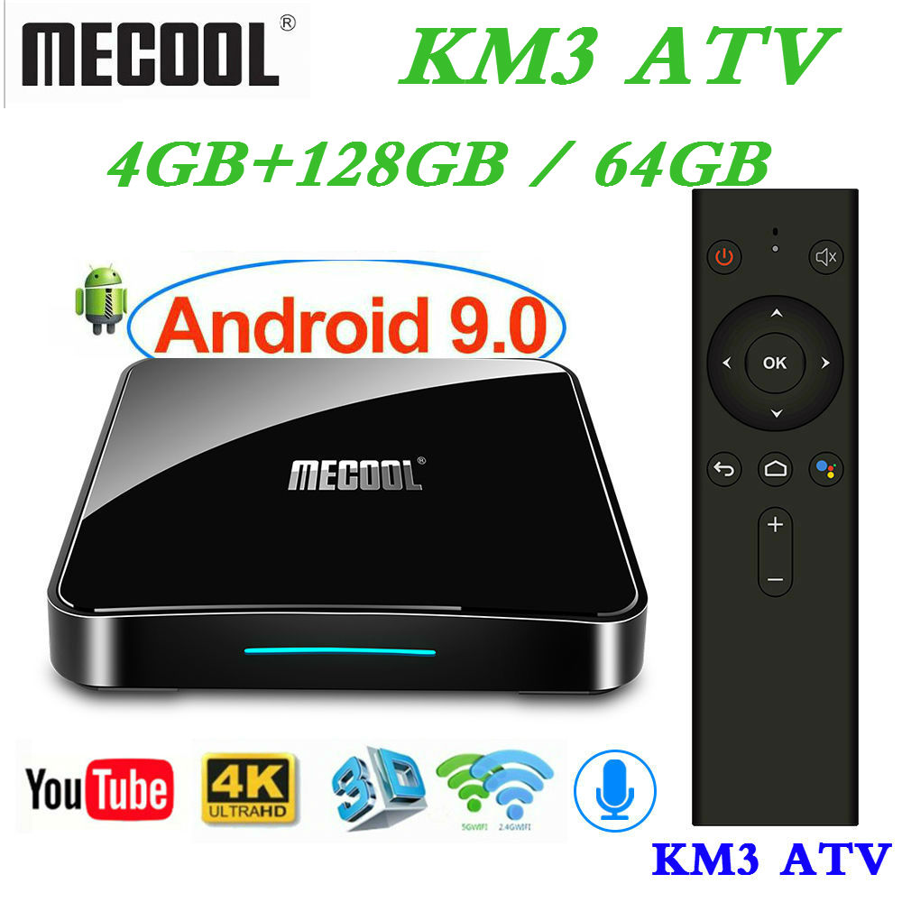 Max 4GB RAM 128GB ROM Mecool Androidtv KM3 TV BOX Android 9.0 Google Certified S905X2 4K Smart Media Player KM9 PRO ATV  2G16G