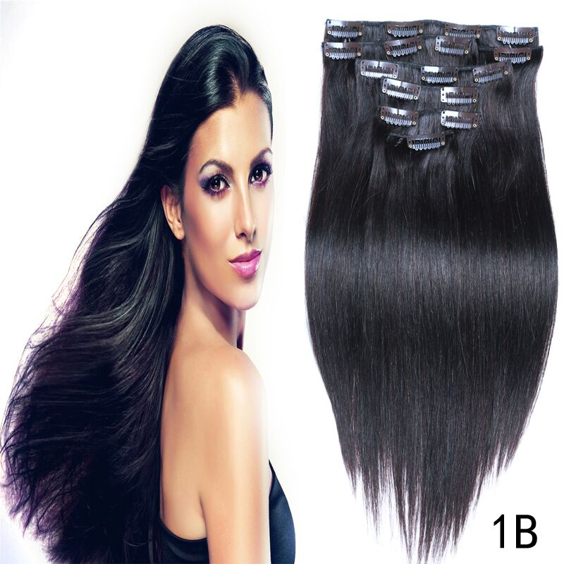 Brazilian Virgin Hair Straight Clip In Human Hair Extensions 1B# 16″-26″ 70g-220g Clip Ins Real Remy Straight Human Hair Clip On