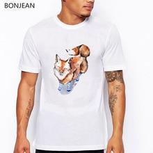 Red fox animal printed tshirt men white funny t shirts camisetas hombre harajuku shirt men t-shirt tumblr tops tee streetwear цена и фото