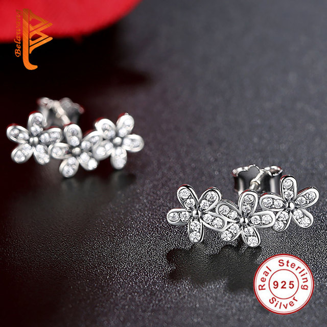 CZ Fashion Silver Dazzling Daisies Flower Stud Earrings Jewelry