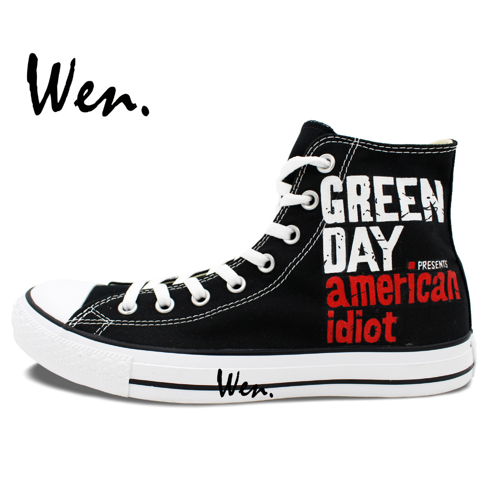 a39b2565575472 Wen Custom Design Slogan GREEN DAY Canvas Hand Painted Shoes High Top Sneakers  Black Outdoor Casual Shoes for Women Men Gifts-in Men s Vulcanize Shoes  from ...