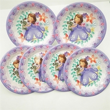 6pc/set Sofia Princess Party Supplies Plates Cartoon Theme For Kids Happy Birthday Decoration Tableware Favors