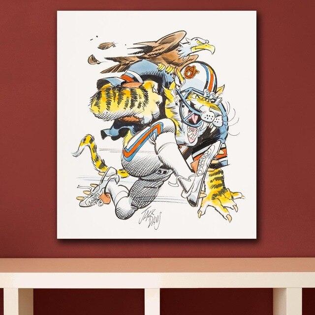 American Auburn University Tigers Football Illustration Wall Art ...