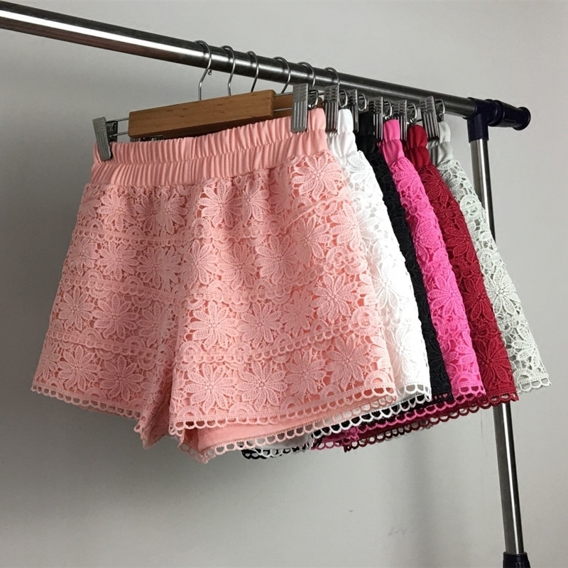 Summer Lace   Shorts   Women Out Wear Thin   Shorts   Feminino Elastic High Waist White   Short   Femme Lace Trousers Women Hotpants C4078