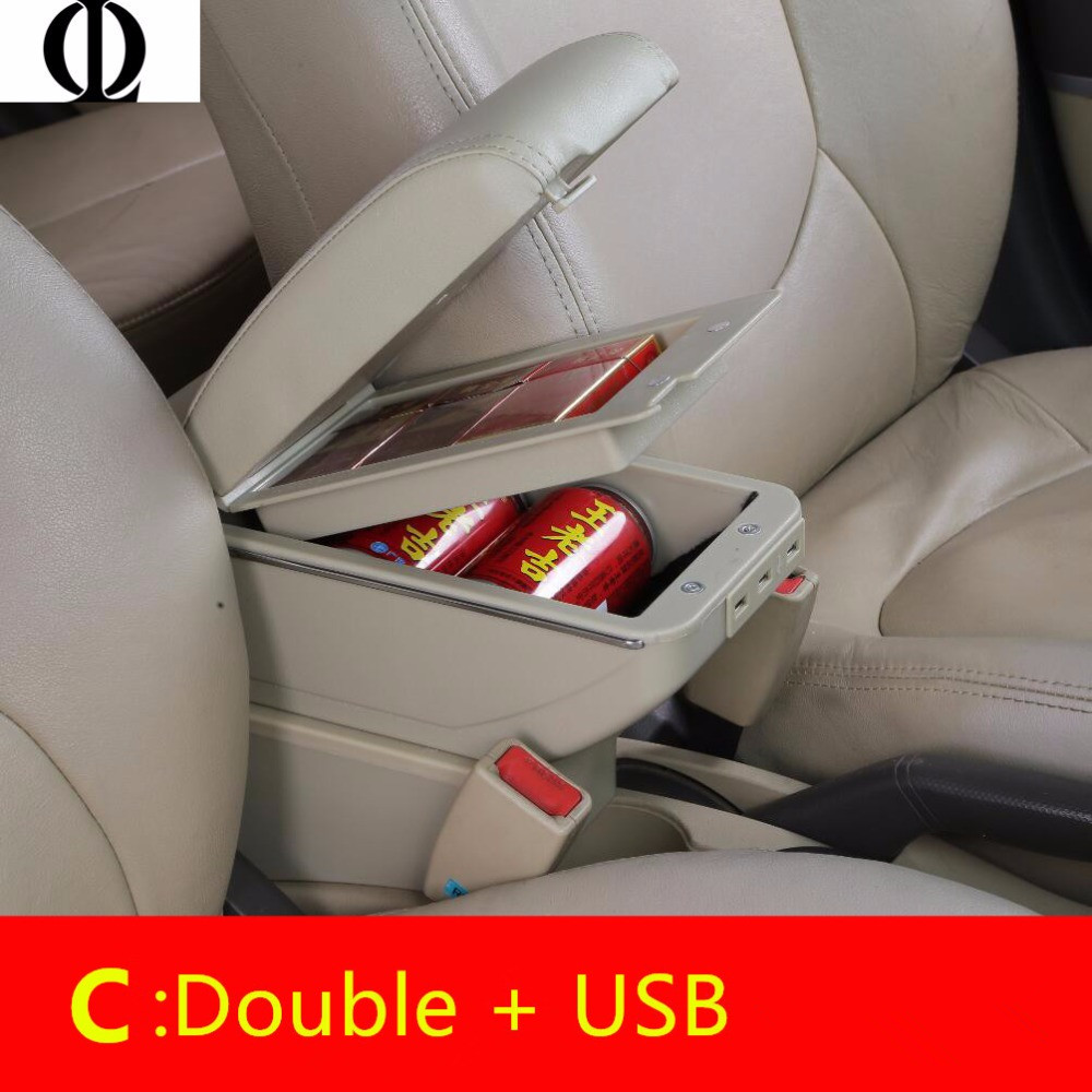 Dual Layer Armrest For Ford Fiesta 2011-2017 Car Central Storage Box 2015