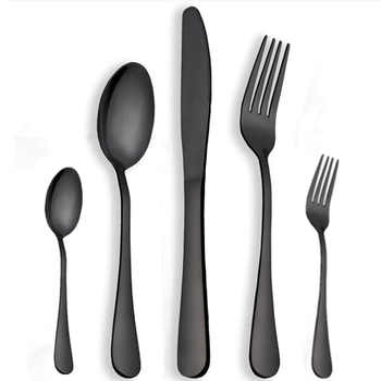 KuBac Hommi 30 Pcs/Set Dinnerware Set Stainless Steel Cutlery Set Black Knife Fork Set Gold Tableware sets Drop Shipping - DISCOUNT ITEM  23% OFF All Category