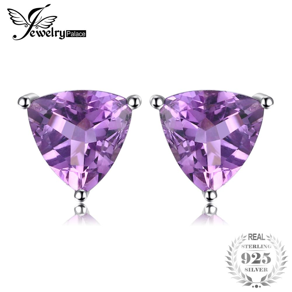JewelryPalace Trillion 1.9ct Natural Purple Amethyst Birthstone Stud Earrings Solid 925 Sterling Silver Fine Jewelry For WomenJewelryPalace Trillion 1.9ct Natural Purple Amethyst Birthstone Stud Earrings Solid 925 Sterling Silver Fine Jewelry For Women