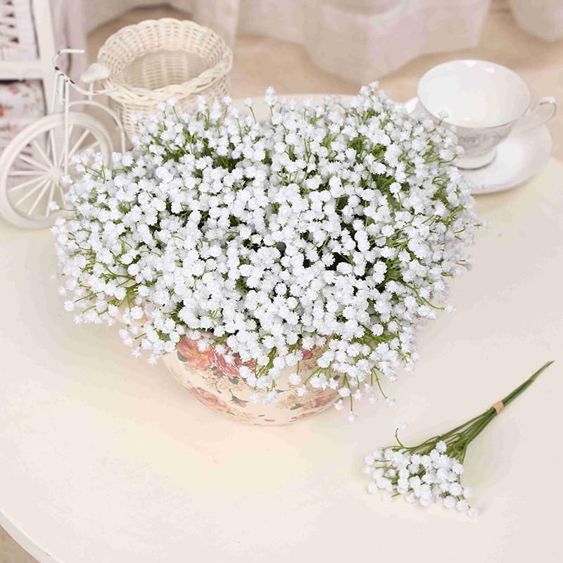 Artificial 1 Piece White Babies Breath Flowers Fake Gypsophila DIY Floral Bouquets Arrangement Wedding Home Decor