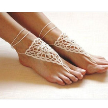 Lackingone Crochet Barefoot Sandals ,Beach Wedding Bridal  Foot jewelry,Nude Shoes, Yoga socks, Barefoot Jewelry Anklets