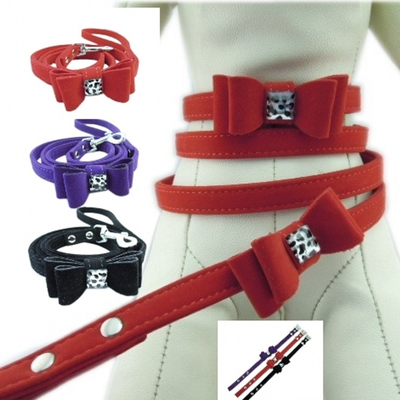 Double-deck Bowknot Flannelette Adjustable Dog Puppy Pet Collars Necklace Collar For Dogs Cat perro 4 colors Size S M