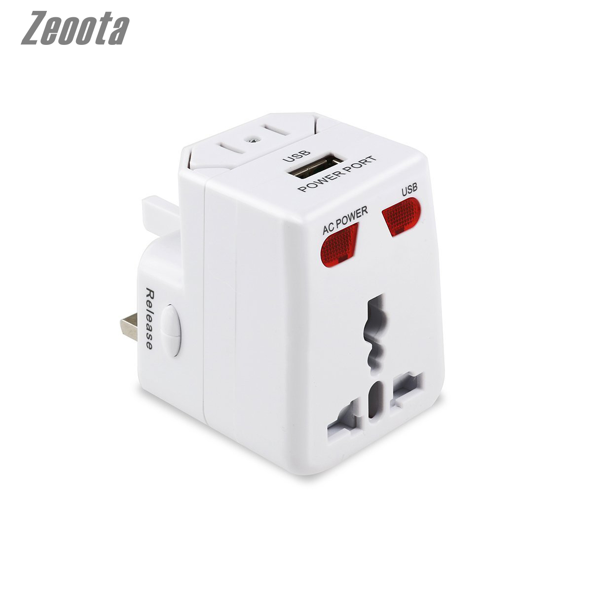 Universal International Travel Switch Socket All-in-One US/EU/UK/AU Plug Travel Wall Charger AC Power Adapter with USB Output