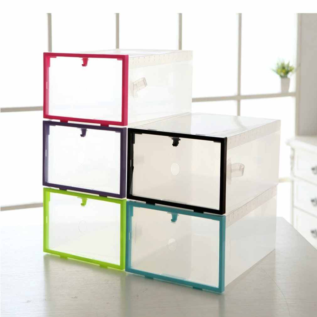 Clear Plastic Stackable Transparent Shoe Box Shoes Storage Box Drawer Creative 5 ColorsPink