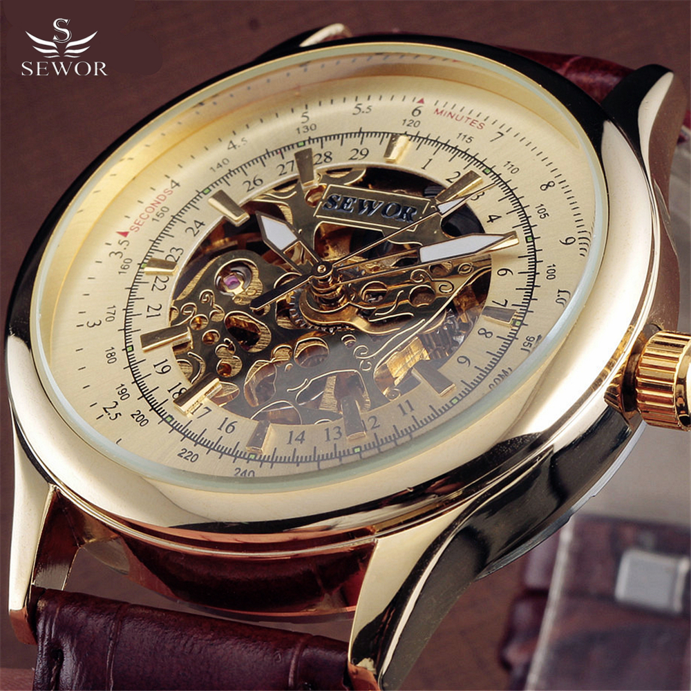 Brand SEWOR Class Business Mechanical Wrist Watch Luxury Golden Skeleton Automatic Watches Men Vintage Dress Reloj Male GiftBrand SEWOR Class Business Mechanical Wrist Watch Luxury Golden Skeleton Automatic Watches Men Vintage Dress Reloj Male Gift