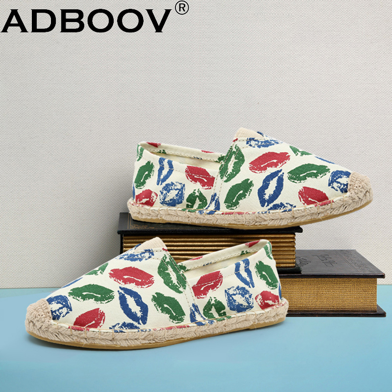 ADBOOV Lips Espadrilles Women Canvas Shoes Hemp Flats Slip On Sneakers Plus Size 35-42 Ladies Loafers Casual Fisherman Shoes women and men s casual flat shoes loafers fisherman espadrilles boat shoes men lazy hemp rope weave shoes size 35 45