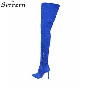Image 4 - Sorbern Sexy Wees Teen Vrouwelijke Winter Laarzen Dij Hoge Over De Knie Laarzen Hoge Hakken Faux Suede Stiletto Hakken US3 US15