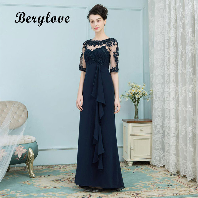 BeryLove Elegant Navy Mother Of the Bride Dress Sleeves Styles Long Lace Evening Dress Special Occasion Dress Prom Party Gowns