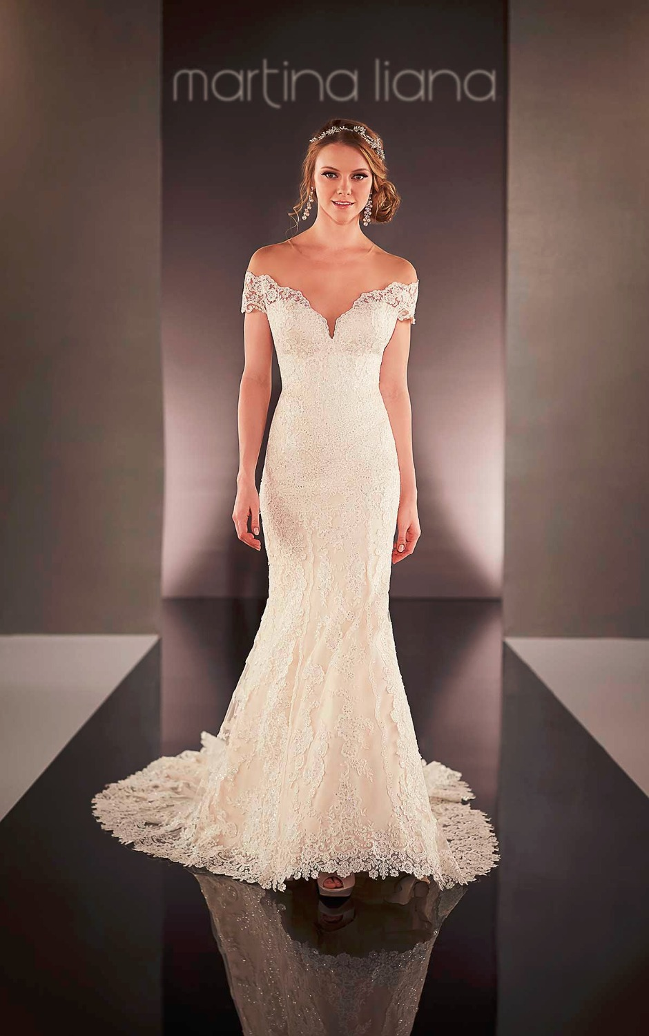 fitted lace wedding dress Sophia Tolli Fall Wedding Gown Collection Style No Fellini cap sleeve lace fit and flare wedding dress with illusion back