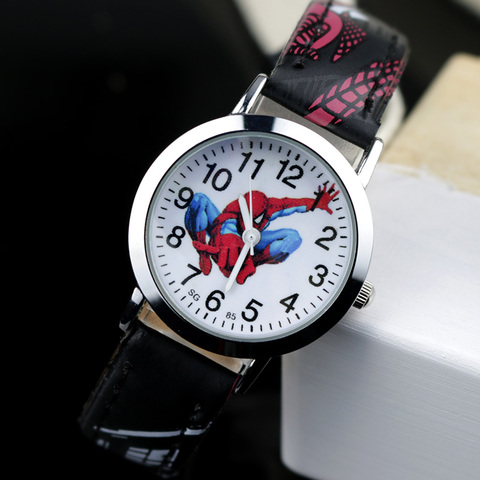 JOYROX Spiderman Pattern Children Watches Cartoon Leather Strap Kids Watch Students Quartz Wristwatch Boys Clock Dropshipping Lahore