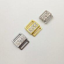 40 סטים\חבילה ביקיני conector ביקיני ריינסטון אבזמים קדמי סגירת קליפים ניקל ברזליות משלוח