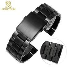 Pulseira de relógio de aço inoxidável, pulseira de relógio de metal sólido com ponta cambered de 26mm para relógio diesel dz4318 dz4323 dz4283 dz4309