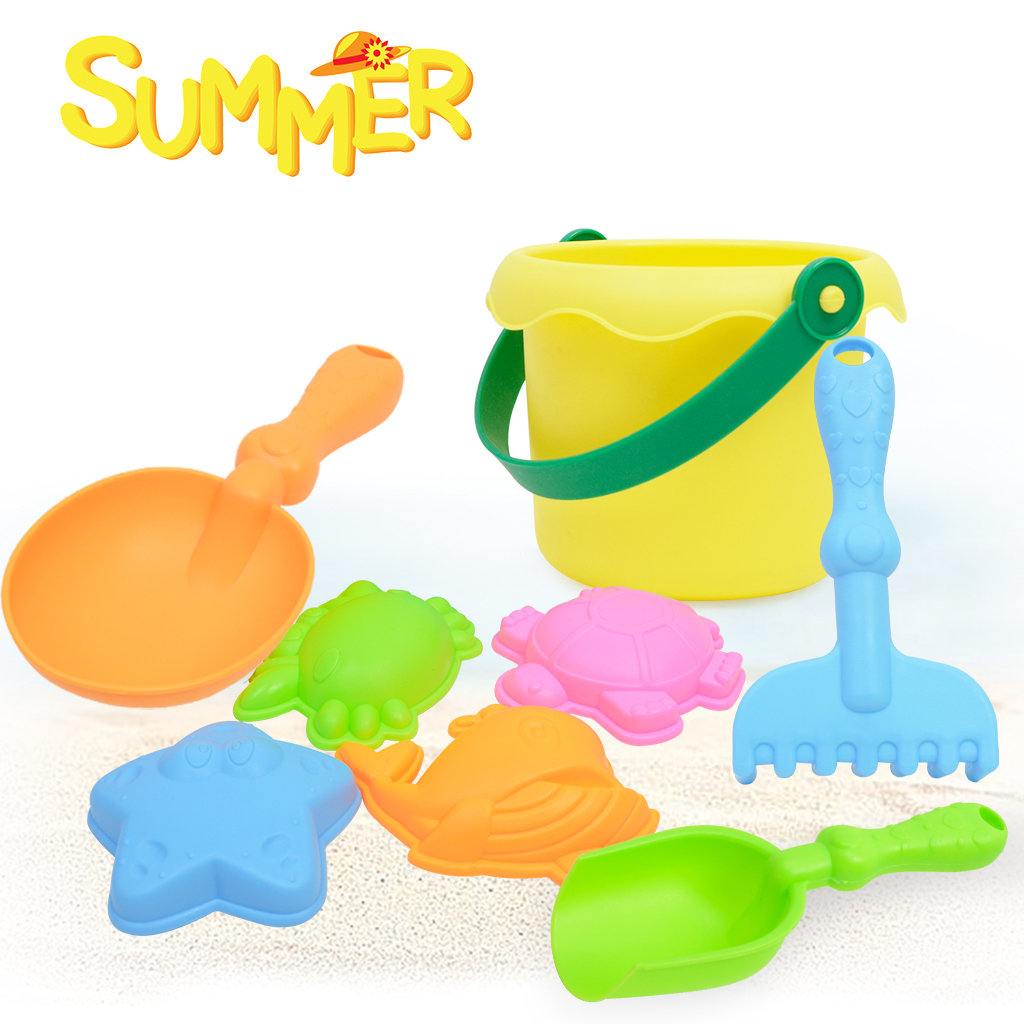 8 Pieces Kids Beach Sand Toys Set Sandbox Toys with Sand Shovel Rake & More