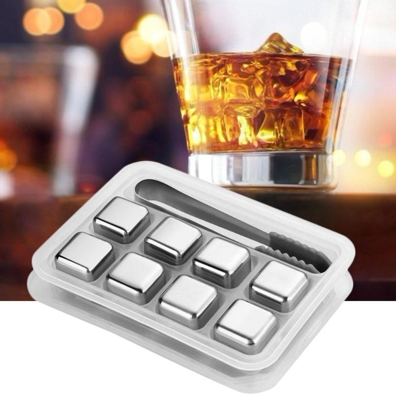 Reusable Bar Whiskey Cooler Stainless Steel Ice Cubes Whiskey Wine Cooling Beer Drinks Cooler Ice Kitchen Gadgets(China)
