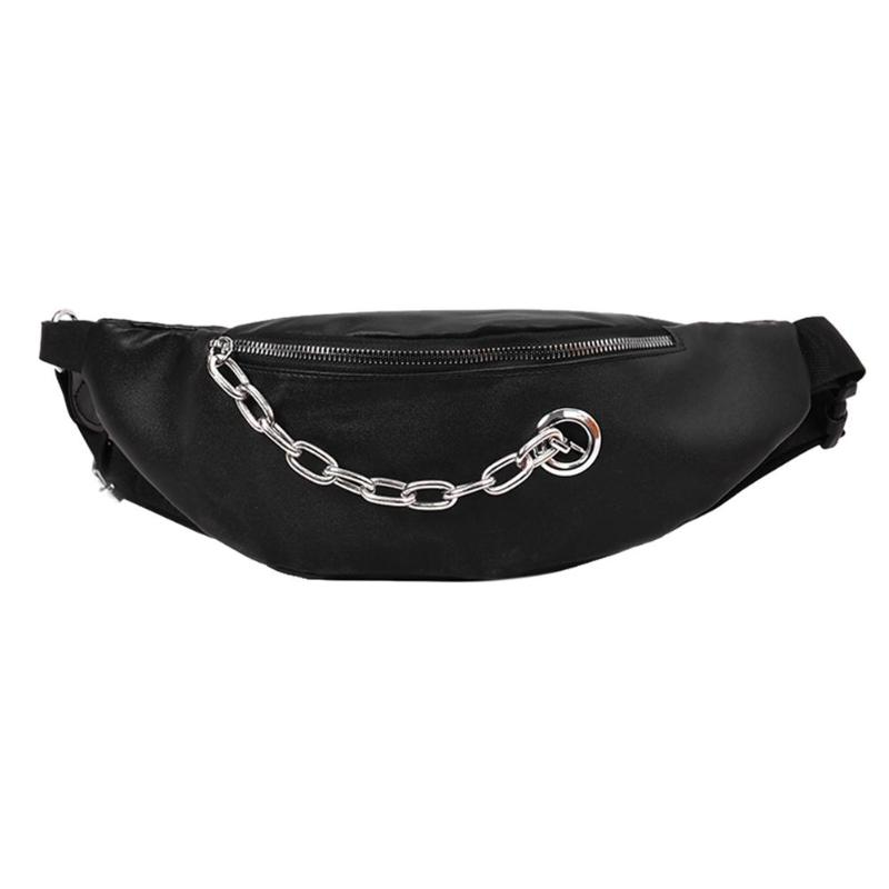 Street PU Leather Fanny Pack Waist Zipper Pouch Bag Women Chain Walking Belt Shoulder Crossbody Women Men Black Bags Travel