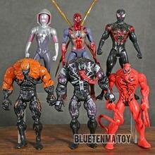 マーベルスパイダーマン毒虐殺マイルモラレスグウェンステイシーledライトアクションフィギュアアイアンマンおもちゃモデルコレクションギフト