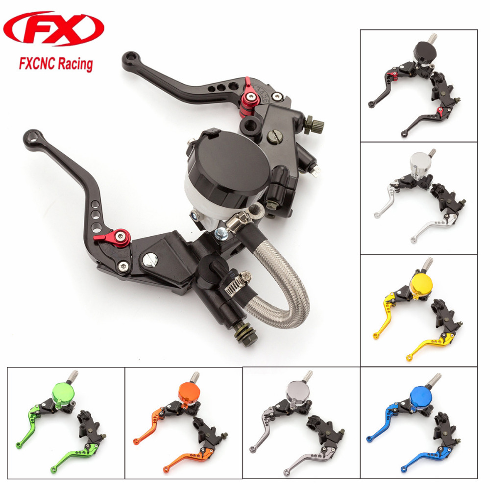 FX CNC 7/8 125-300CC Motorcycle Master Cylinder Reservoir Brake Clutch Lever Hydraulic For KTM 200 Duke RC200 RC125 2014 - 2015 cnc brake clutch gear pedal lever for ktm duke 125 200 390 rc125 rc200 rc390 2014 2015 2016 gray silver orange aluminum alloy