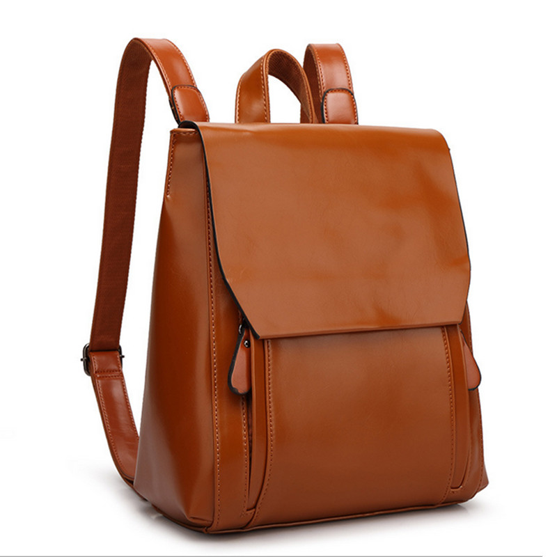 2016 New Fashion Backpack Women Soft Handle Leather Backpack Schoolbag Black Backpack Back Bag Travel