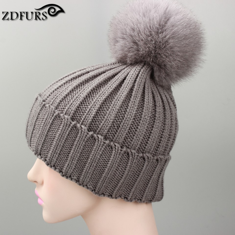 fox fur ball cap pom poms winter hat for women girl 's wool hat knitted cotton beanies cap brand new thick female cap high quality real fur ball pompom winter hat for women wool hat knitted cotton beanies cap brand new thick female hat