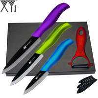 XYj Kitchen Knife Gift Multi Colors Ceramic Knives 3 4 5 Black Blade Zirconia Cooking Tools