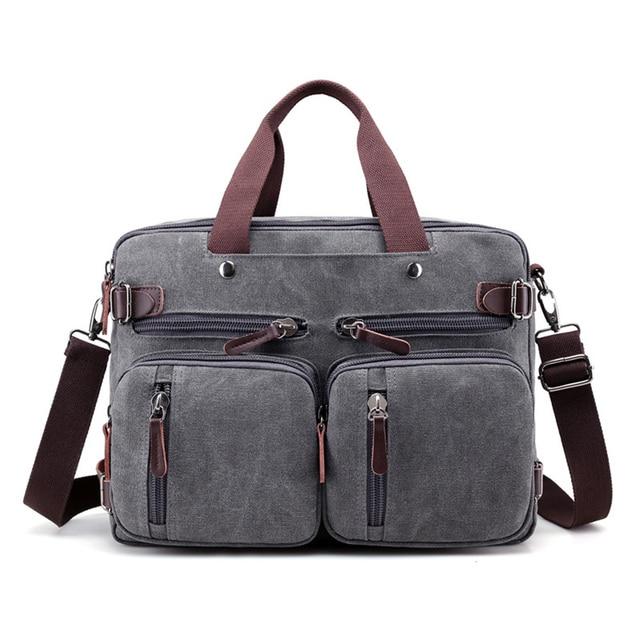 "Canvas 17"" laptop backpack Male Shoulder Laptop bag 14 17.3 inch Female stylish large 3 in 1 Notebook bag Black Blue Gray 2018"