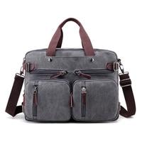 Canvas 17 laptop backpack Male Shoulder Laptop bag 14 15 15.6 17.3 inch Female stylish large 3 in 1 Notebook bag Black Gray