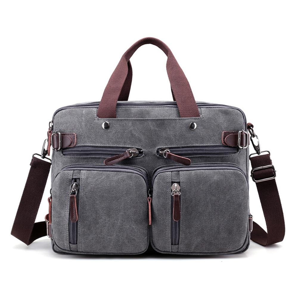 Canvas 17 laptop backpack Male Shoulder Laptop bag 14 15 15.6 17.3 inch Female stylish large 3 in 1 Notebook Black Gray
