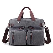 "Canvas 17"" laptop backpack Male Shoulder Laptop bag 14 15 15.6 17.3 inch Female stylish large 3 in 1 Notebook bag Black Gray"