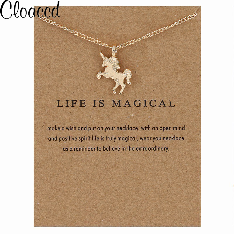 Cloaccd Fashion Gold Silver Plated Unicorn Pendant Necklaces Simple Women Chain Necklace Christmas Birthday Gifts With