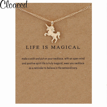 Cloaccd Fashion Gold&Silver Plated Unicorn Pendant Necklaces Simple Women Chain Necklace Christmas Birthday Gifts With Card