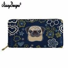 купить NOISYDESIGNS Man Wallet Leather With Coin Pocket Long Puppy Design Purse Credit Card Holder Phone Zipper Wallet Purses Custom дешево