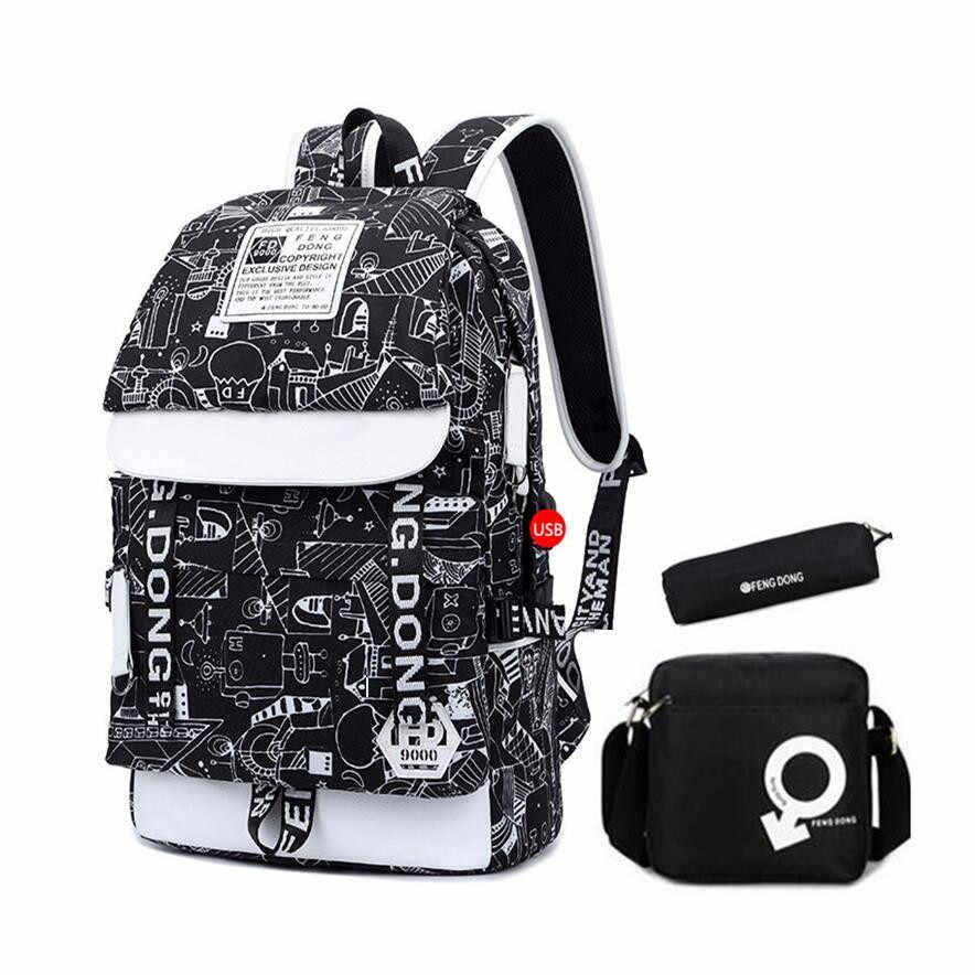 e3ecdae5f4f8 ... FengDong школьные рюкзаки для мальчиков школьные сумки ручка Карандаш  сумка на плечо сумки для мужчин черный ...