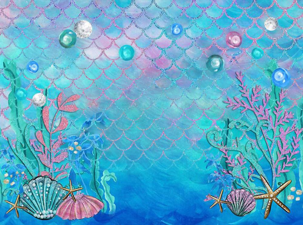 cheapest Mermaid Background Baby Shower Birthday Photography Backdrop Under water Photobooth for Pictures HUAYI W-597