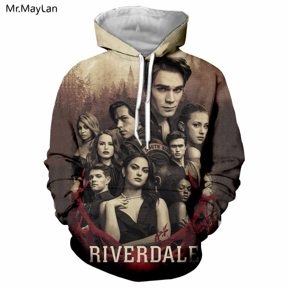 Crime TV Riverdale 3D Print Vintage Jacket Women/men Streetwear Hoodie Boys Retro Hooded Sweatshirt 2019 Spring Man Clothes 5XL