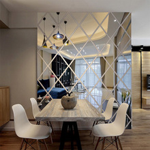 3D Acrylic Mirror Wall Sticker Home Hotel Living Room Decoration Modern Diamond Pattern Decorative
