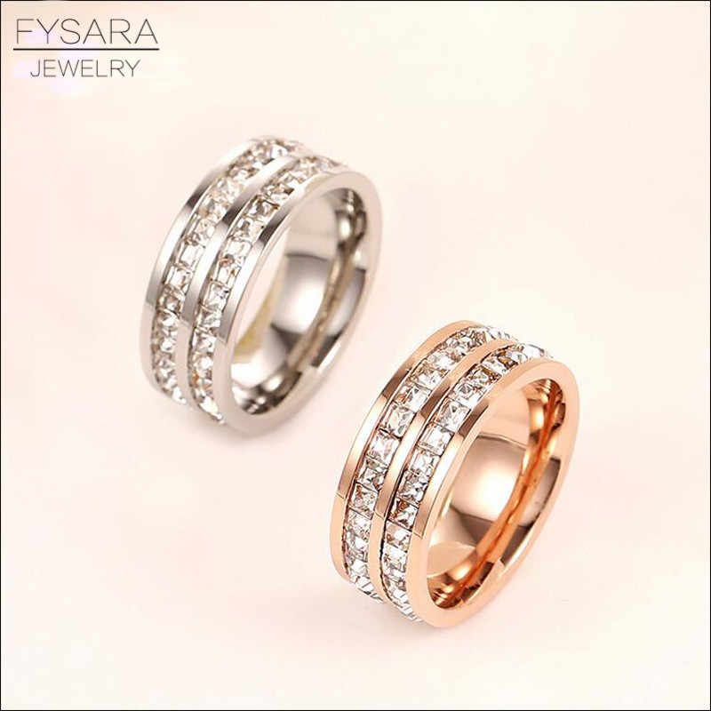 FYSARA Single Double Row Austrian Crystals Square Rings for Women Jewelry Titanuim Steel Rose Gold Zirconia Luxury Love Rings