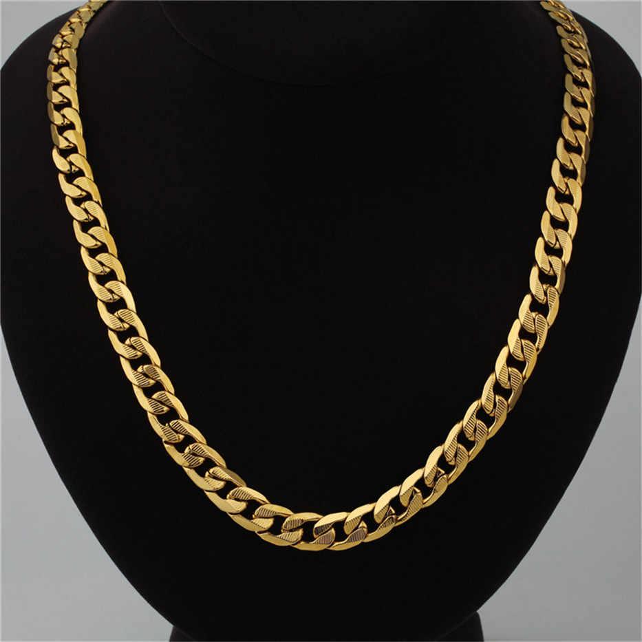 ชาย Hiphop หนา Cuban Link สร้อยคอ Hip Hop 12 มม./8 มม. chain เครื่องประดับชาย